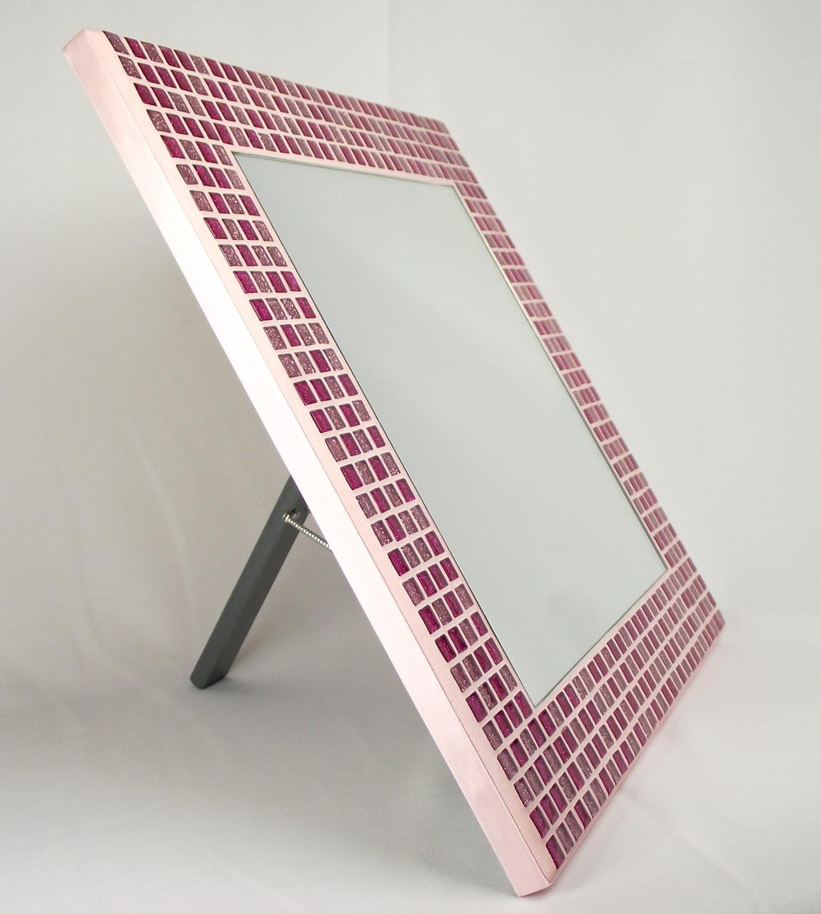 Pink Glitter 35cm Mosaic Mirror with Stand