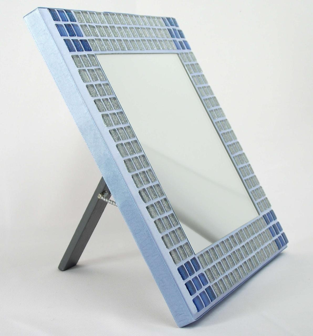 Silver-Blue Glitter Corners 23cm Mosaic Mirror with Stand