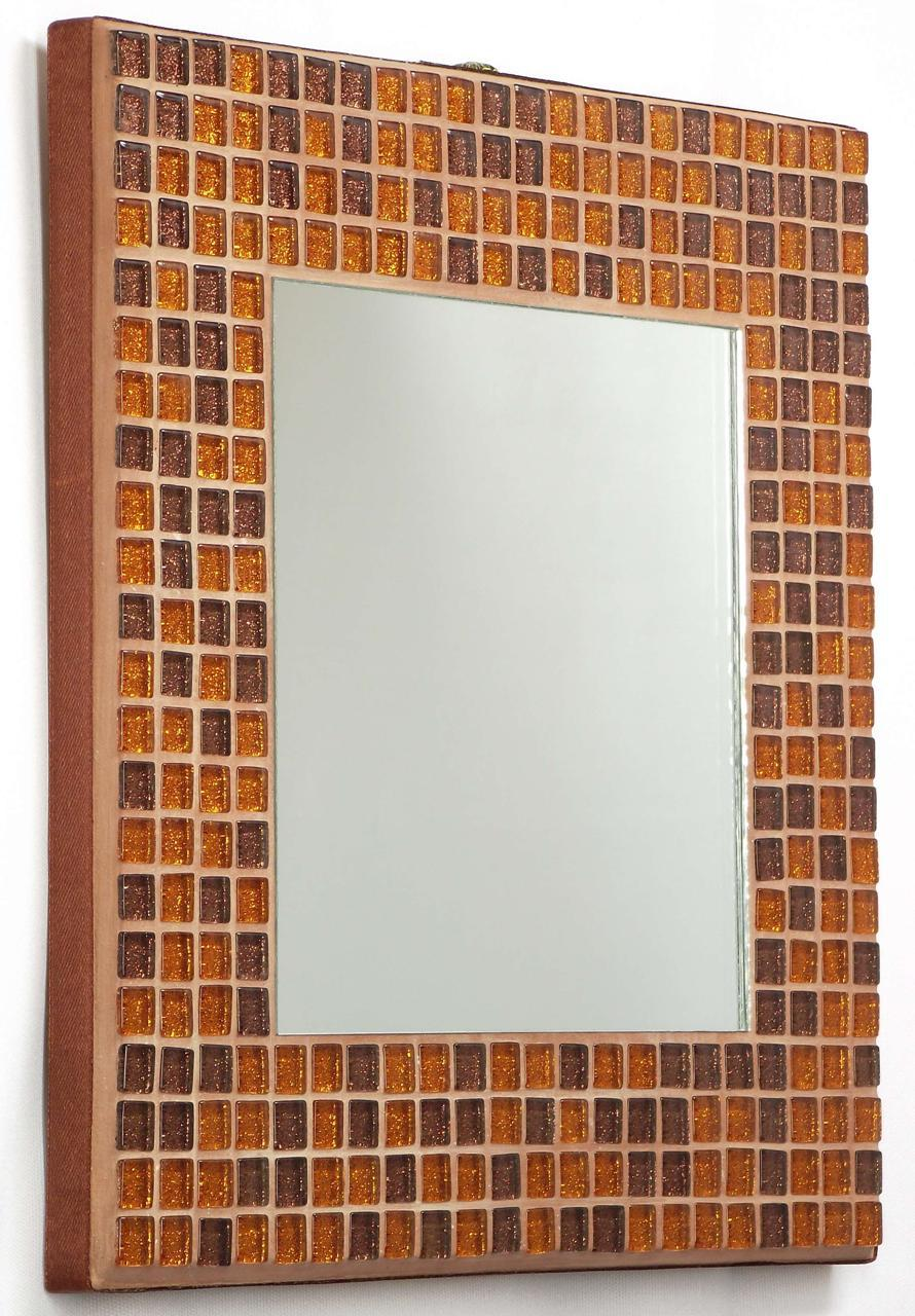Copper Glitter 25cm Mosaic Mirror (side)