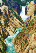 Yellowstone Waterfall from Artist Point - Mosaic Tile Art
