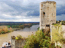 Loire Valley Tower (Château de Chinon) - Mosaic Tile Art