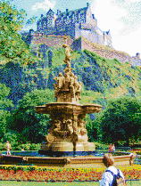 Edinburgh Castle and Fountain - Mosaic Tile Art