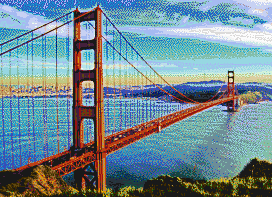 Golden Gate Bridge from Marin Headlands - Mosaic Tile Art