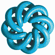 Turquoise Torus Knot (8,3 on White) - Mosaic Tile Art