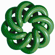 Green Torus Knot (8,3 on White) - Mosaic Tile Art