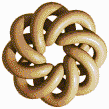 Brown Torus Knot (8,3 on White) - Mosaic Tile Art