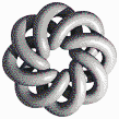 Grey Torus Knot (8,3 on White) - Mosaic Tile Art