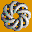 Grey Torus Knot (8,3 on Mid Orange) - Mosaic Tile Art