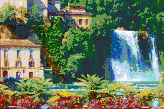 Italian Waterfall (Isola Liri) - Mosaic Tile Art