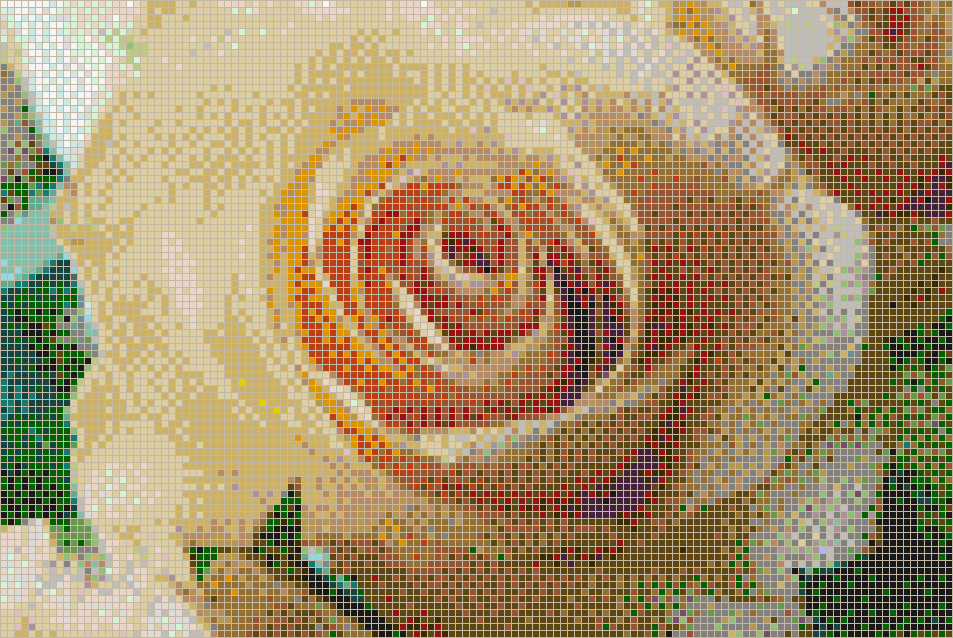 Apricot Rose - Mosaic Tile Picture Art