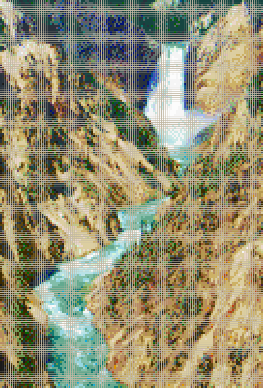 Yellowstone Waterfall from Artist Point - Mosaic Tile Picture Art