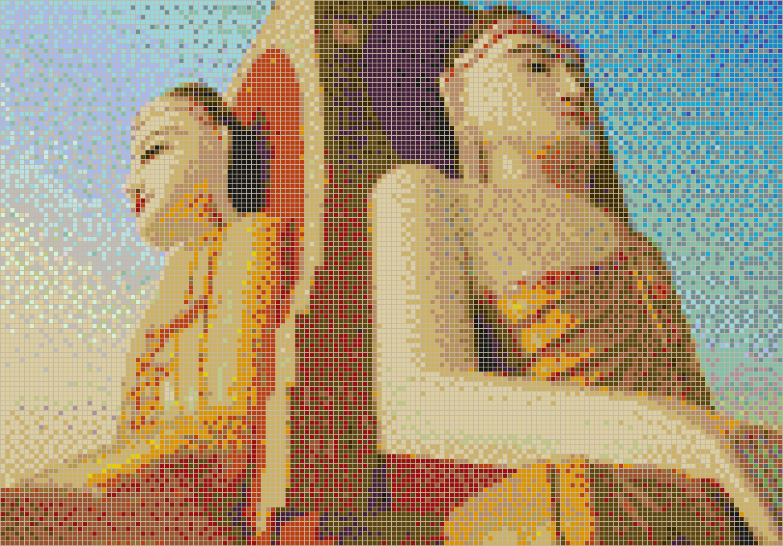 Buddah Statues at Kyaik Pun Paya - Mosaic Tile Picture Art