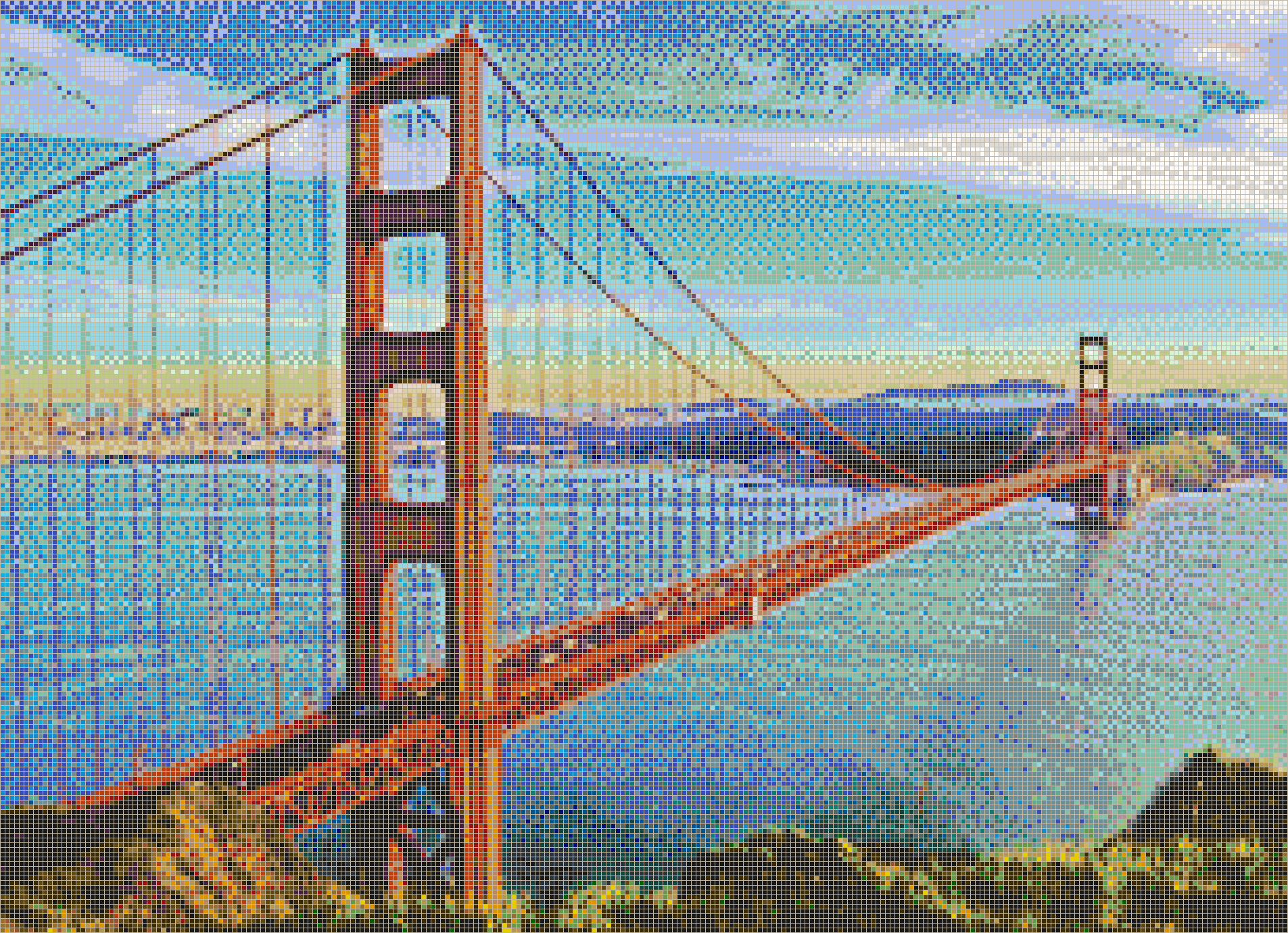 Golden Gate Bridge from Marin Headlands - Mosaic Tile Picture Art
