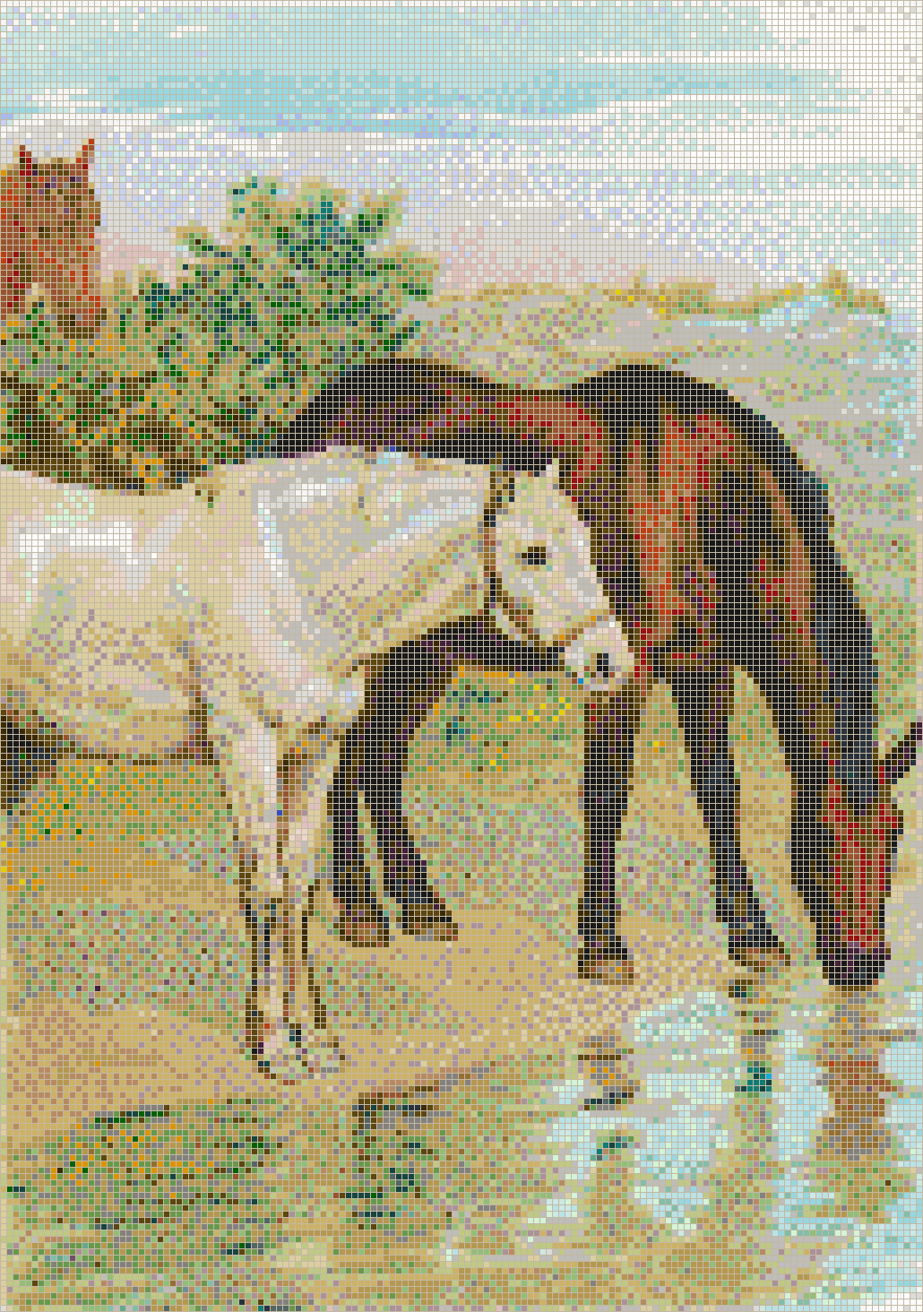 Horses Drinking - Mosaic Tile Picture Art