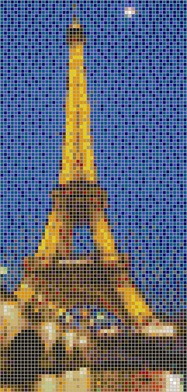 Moon over the Eiffel Tower - Mosaic Tile Picture Art