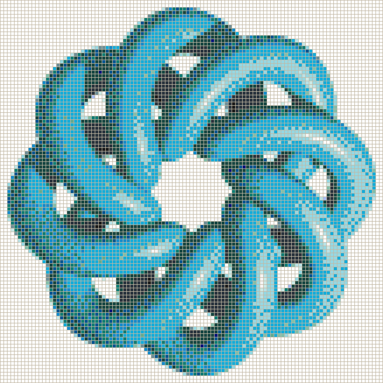 Turquoise Torus Knot (8,3 on White) - Mosaic Tile Picture Art