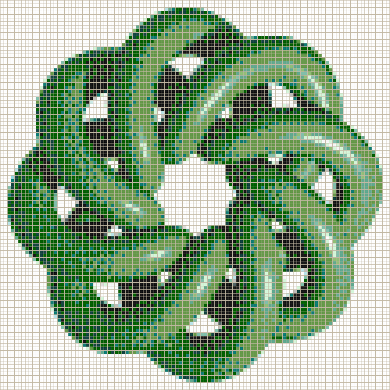 Green Torus Knot (8,3 on White) - Mosaic Tile Picture Art