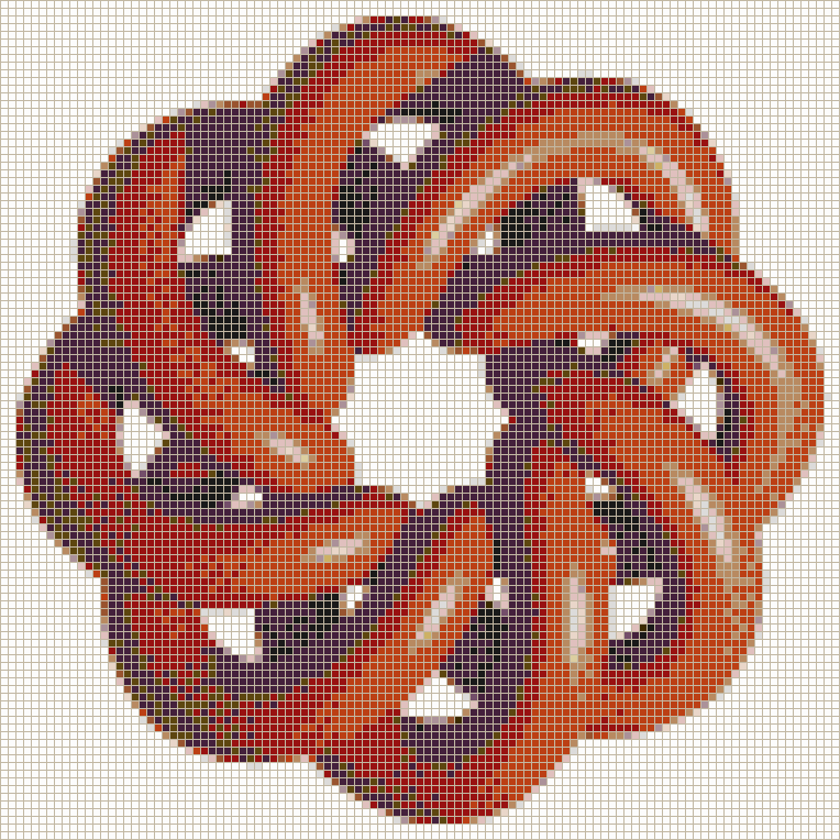 Red Torus Knot (8,3 on White) - Mosaic Tile Picture Art