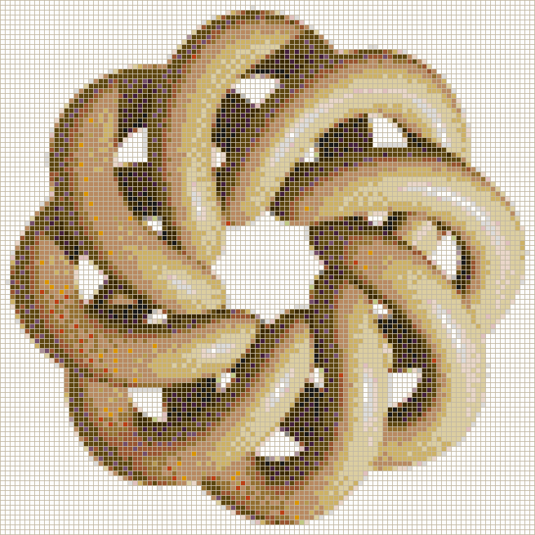 Brown Torus Knot (8,3 on White) - Mosaic Tile Picture Art