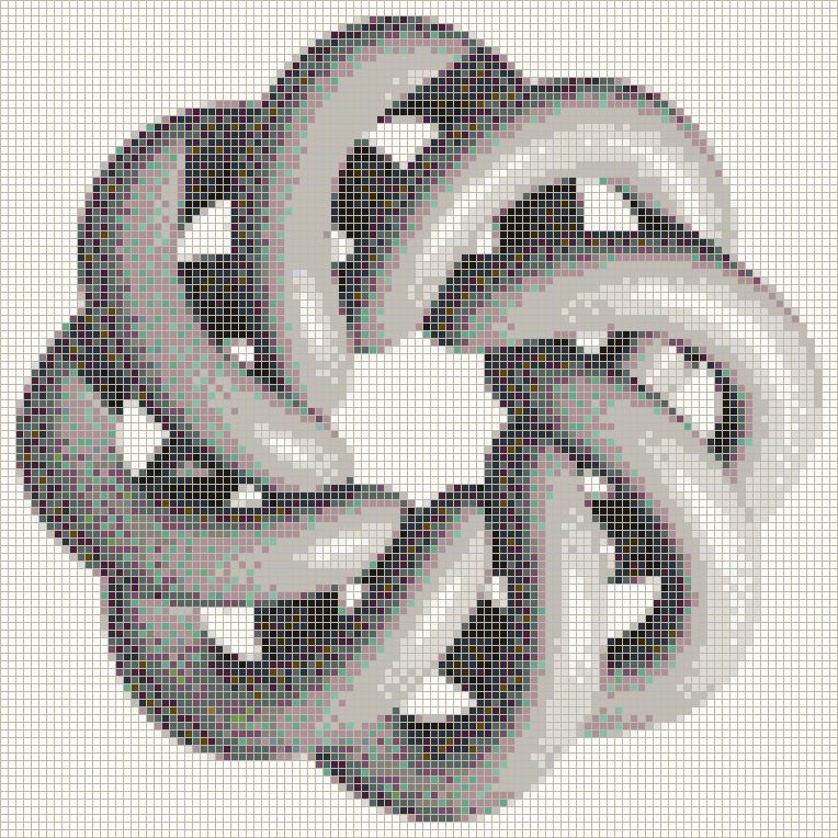 Grey Torus Knot (8,3 on White) - Mosaic Tile Picture Art