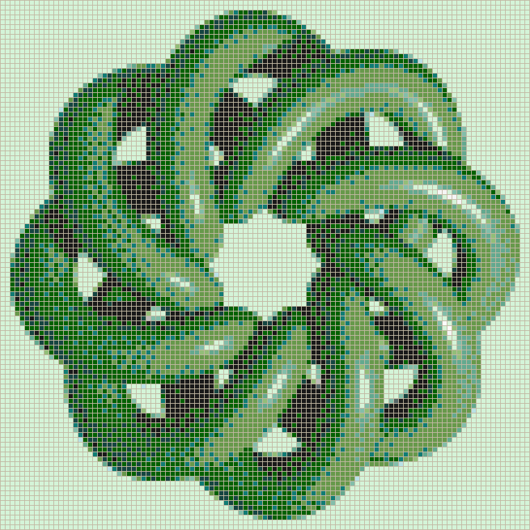 Green Torus Knot (8,3 on Soft Green) - Mosaic Tile Picture Art
