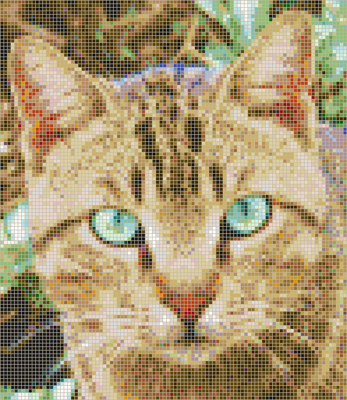 Cat with Green Eyes - Mosaic Tile Picture Art