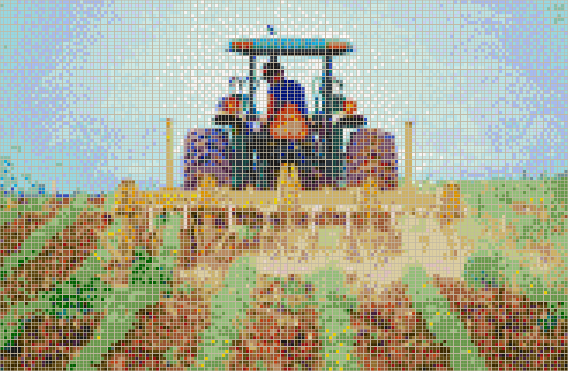 Tractor cultivating soybeans - Mosaic Tile Picture Art