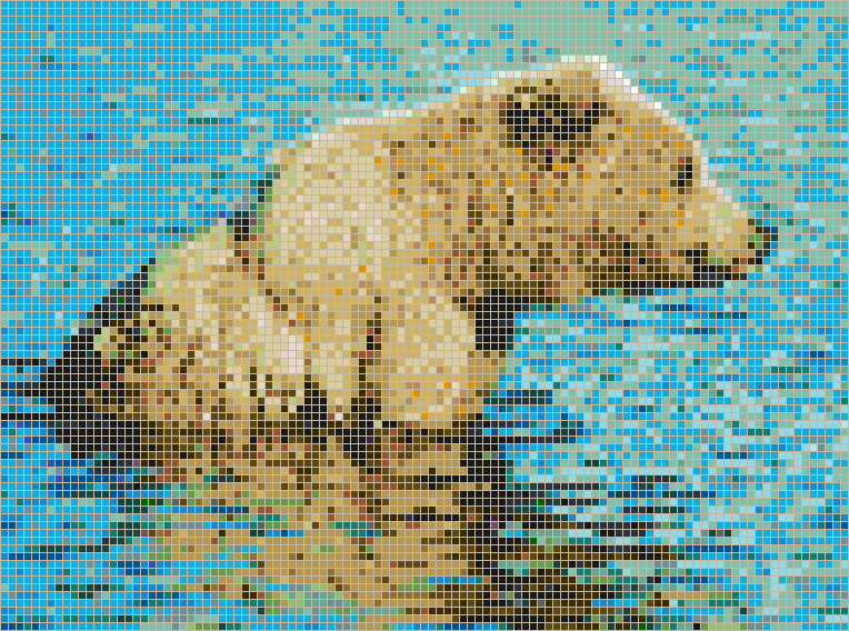 Brown Bear in Creek - Mosaic Tile Picture Art