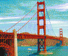 Golden Gate Bridge - Framed Mosaic Wall Art