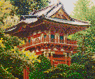 Pagoda (Japanese Tea Garden) - Framed Mosaic Wall Art