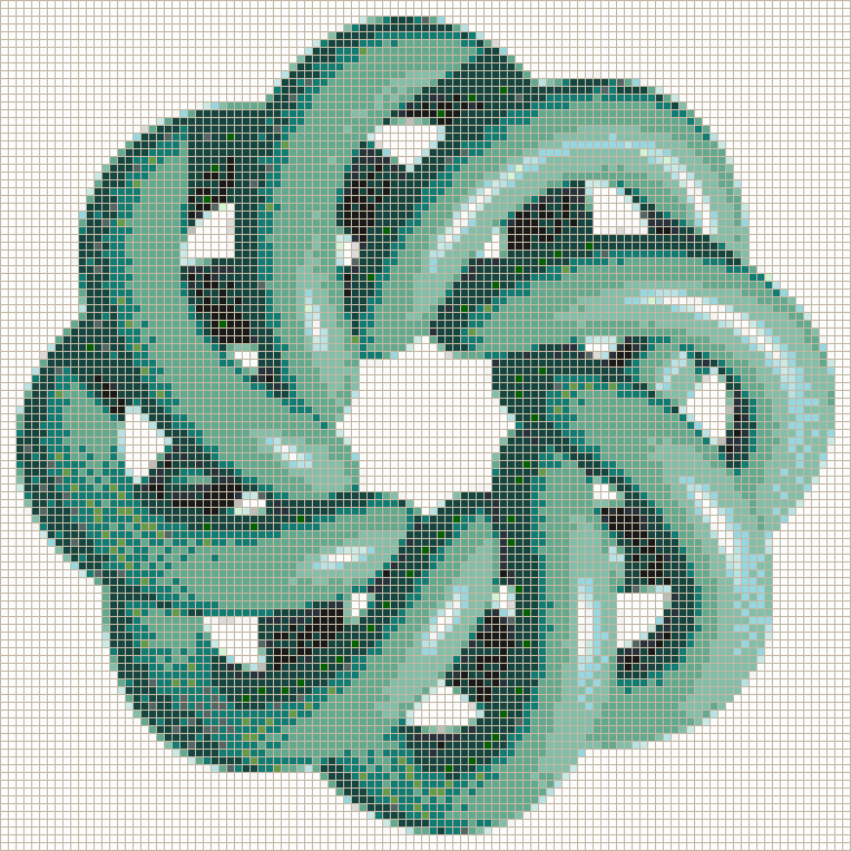 Marine Torus Knot (8,3 on White) - Mosaic Wall Picture Art