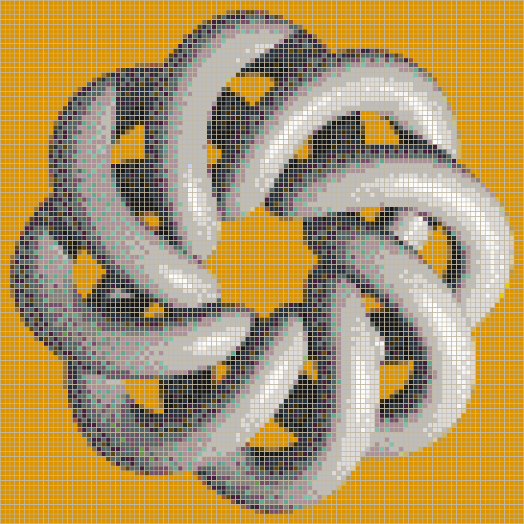Grey Torus Knot (8,3 on Mid Orange) - Mosaic Wall Picture Art
