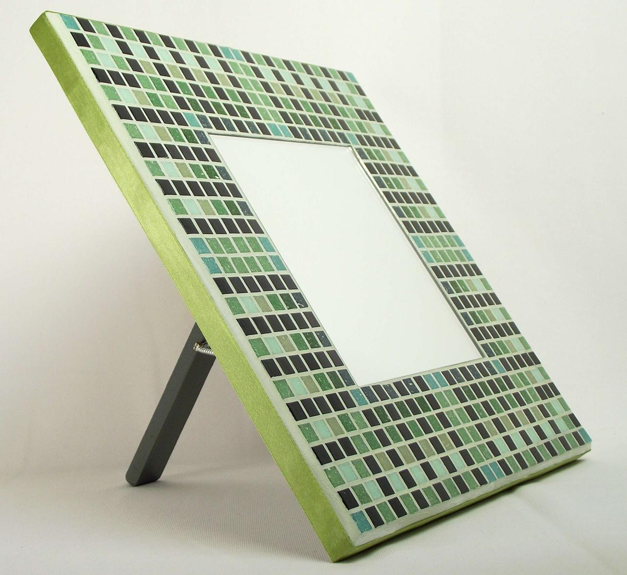 Egyptian Green 29cm Mosaic Mirror with Stand