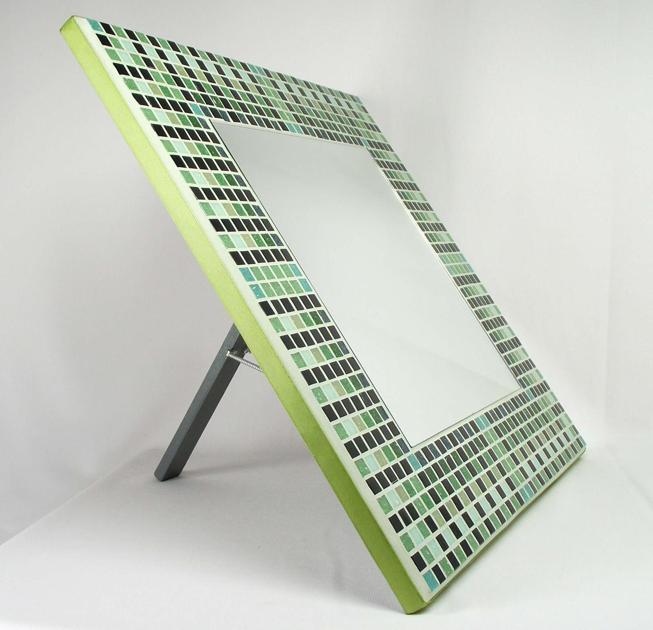 Egyptian Green 38cm Mosaic Mirror with Stand