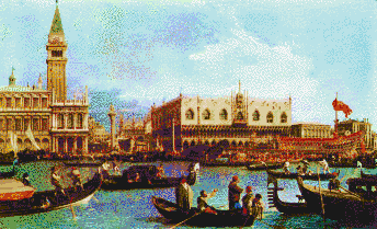 Bucentoro returns to the Molo, Venice (Canaletto) - Tile Mosaic