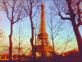 Eiffel Sunset - Mosaic Tile Art