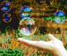 Hand with Bubbles - Framed Mosaic Wall Art