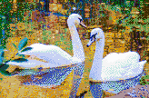 Autumn Swans - Framed Mosaic Wall Art