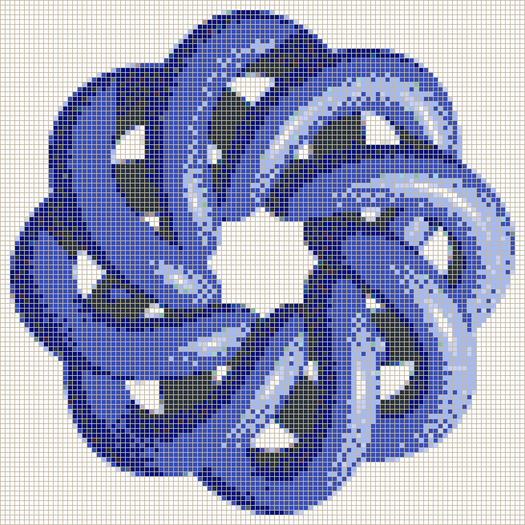 Blue Torus Knot (8,3 on White) - Mosaic Wall Picture Art